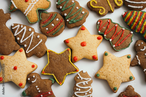 Christmas Themed Gingerbread Cookies On White Plate Buy This Stock