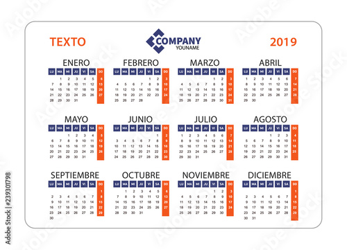 Calendario Julio 2019 Vector.Horizontal Calendar 2019 In Spanish Week Starts From Monday