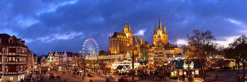Fototapety, obrazy: Panorama Erfurter Weihnachtsmarkt