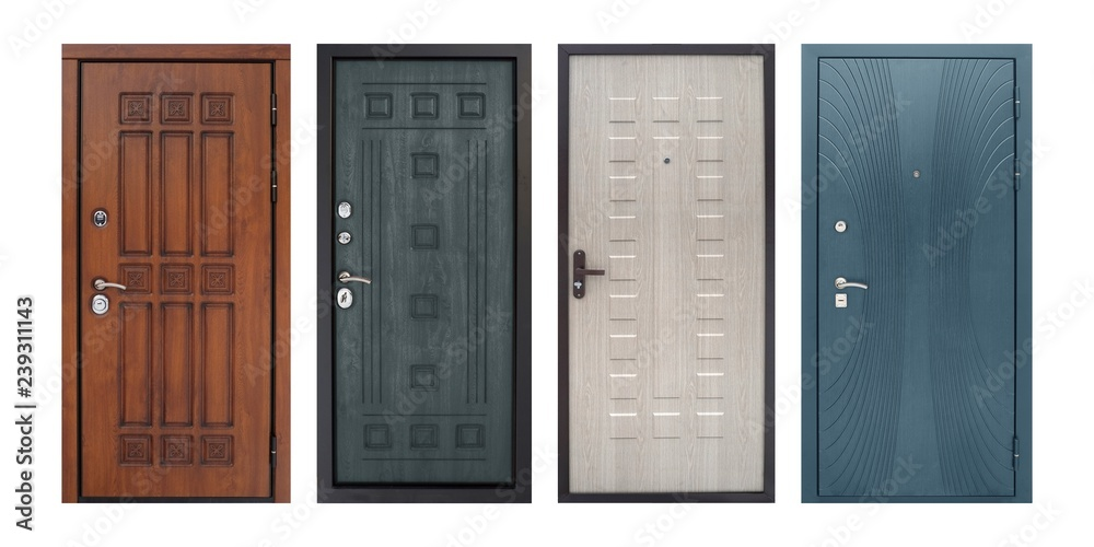 Fototapety, obrazy: Set of models of entrance metal doors (isolated)