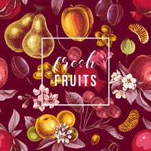 Fresh Fruits Emblem On Seamless Pattern With Colorful Fruits