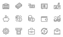 Finance And Banking Vector Line Icons Set . Contains Coins, Money And Bank Management Icons.. Editable Stroke. 48x48 Pixel Perfect.