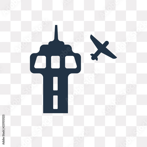 Airport Tower Vector Icon Isolated On Transparent Background