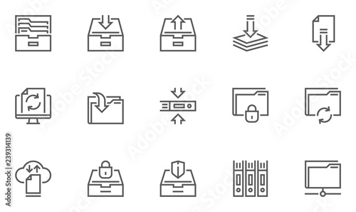 Fotografía Archive and Folders Vector Line Icons Set