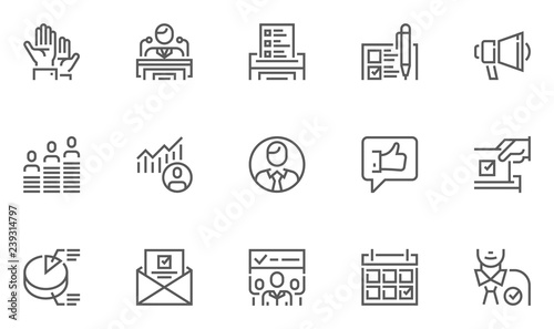 Fotografía Voting and Elections Line Icons Set