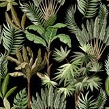 Bezszwowy wzór z egzotycznymi drzewami tak my palma i banan. Tapeta vintage wnętrza. - 239314988