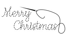 Merry Christmas Text With Interrupted Contour. Hand Made Vector Illustration With Embroidery Thread And Needle On White Background