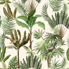 Fototapeta Malarstwo Seamless pattern with exotic trees such us palm and banana. Interior vintage wallpaper.