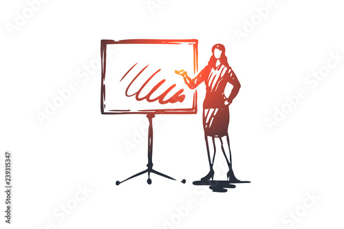 Fototapeta Presentation, woman, board, graphic, job concept. Hand drawn isolated vector. obraz