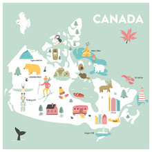 Vector Illustrated Cartoon Map Of Canada