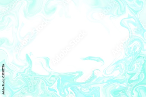 Turquoise abstract surreal lines on white background, marble texture, copy space Graphic design drawing art pattern, blur backdrop with chaotic lines. © mkalinichenko