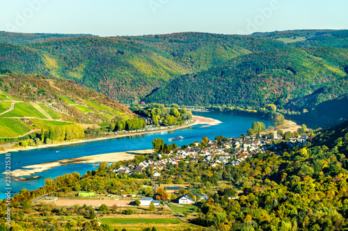 Fototapeta The great loop of the Rhine at Boppard in Germany