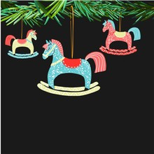 Retro Vintage Scandinavian Graphic Lovely Winter Holiday New Year Collage Pattern Christmas Tree Toys And Rocking Horse Hand Illustration. Perfect For Cards, Textile, Wallpaper, Background