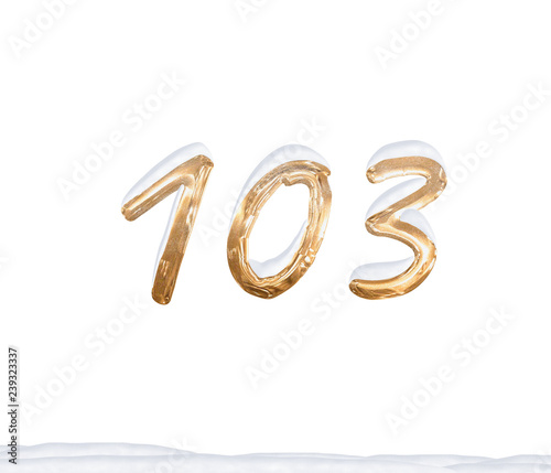 Fotografia  Gold Number 103 with Snow on white background