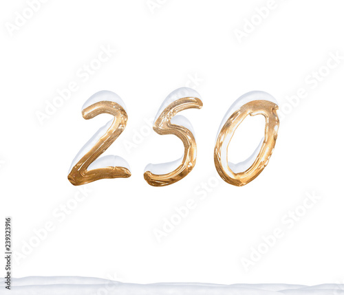 Fotografia  Gold Number 250 with Snow on white background