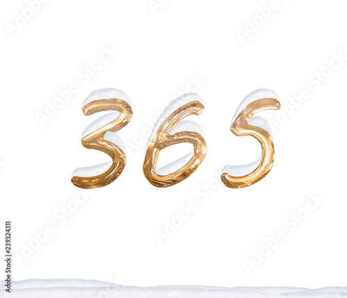 Vászonkép  Gold Number 365 with Snow on white background