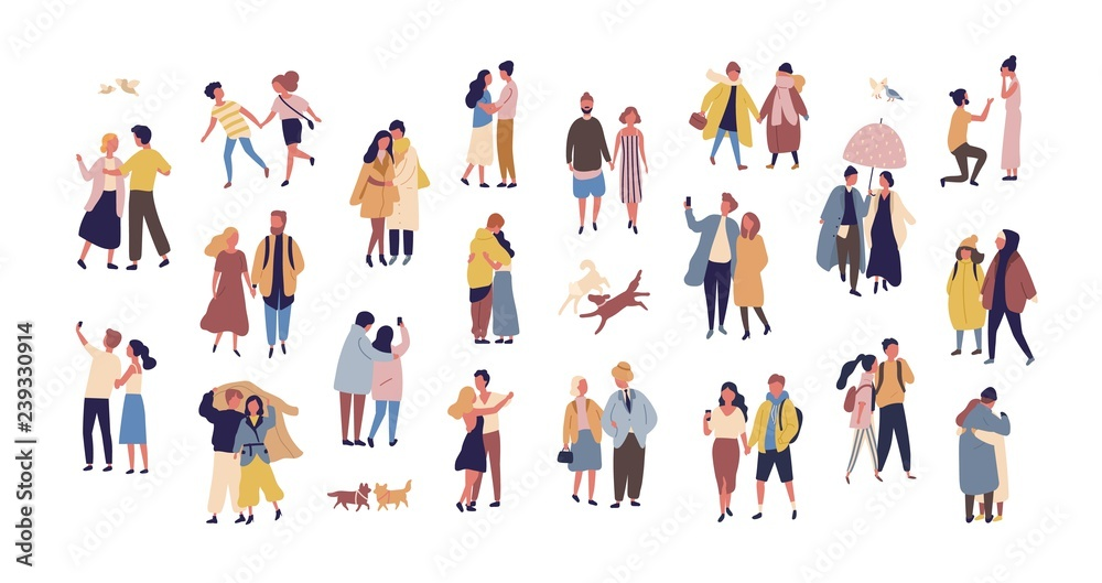 Fototapeta Bundle of couples dressed in seasonal clothes walking on street. Collection of men and women in love during romantic date isolated on white background. Flat cartoon colorful vector illustration.
