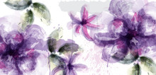 Violet Flowers Watercolor Card Vector. Purple And Delicate Blooming Decor. Invitation Card, Wedding Ceremony, Postcard, Women Day Greeting. Flow Colorful Drops. Beautiful Pastel Colors
