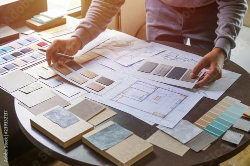 Stampa su Tela Architect designer Interior creative working hand drawing sketch plan blue print