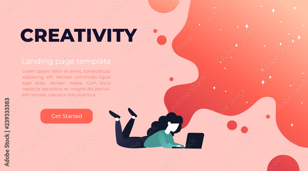 Fototapety, obrazy: Vector living coral gradient illustration of creativity in Internet. Website design concept with bright colorful splash. Landing page template with young girl and laptop.