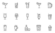 Drink And Beverage Vector Line Icons Set. Cocktails, Coffee, Alcoholic Beverages. Editable Stroke. 48x48 Pixel Perfect.