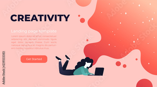 Obraz Vector living coral gradient illustration of creativity in Internet. Website design concept with bright colorful splash. Landing page template with young girl and laptop. - fototapety do salonu