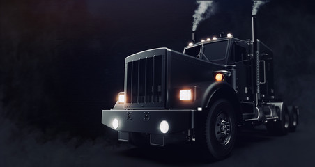 Classic black semi truck on...