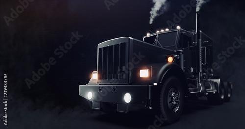 Classic black semi truck on...