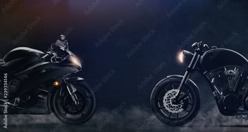 Fototapeta Sports and classic black motorcycles facing each other on dark background with smoke (3D illustration)
