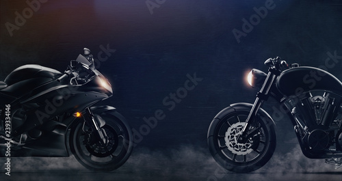 Sports and classic black motorcycles facing each other on dark background with smoke (3D illustration)