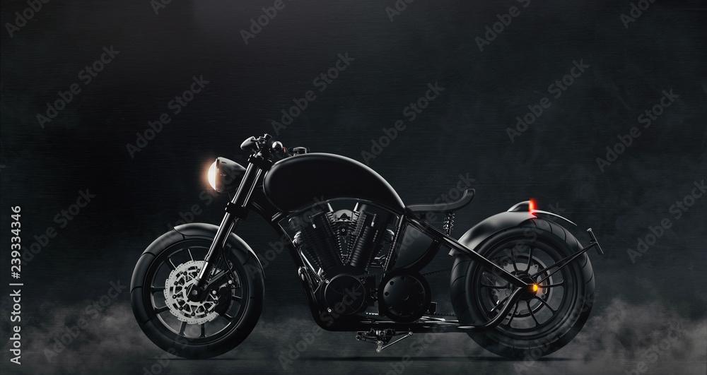 Fototapeta Black classic motorcycle on dark background with smoke (3D illustration)