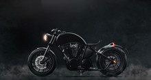 Black Classic Motorcycle On Da...