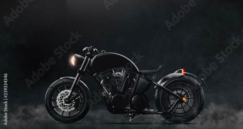 Fotografie, Tablou Black classic motorcycle on dark background with smoke (3D illustration)