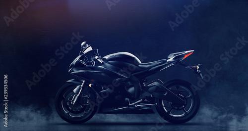 Black modern sports motorcycle on dark background with smoke (3D illustration)