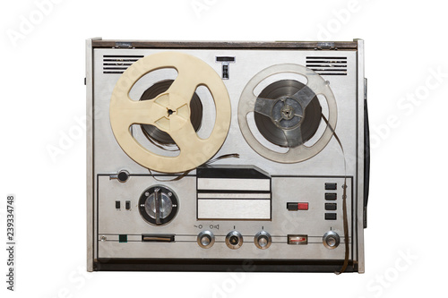 964c36852a49 Analog vintage stereo reel tape deck recorder player with metallic reels  isolated on white background.