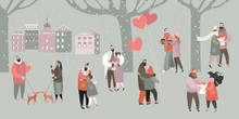 Vector Valentines Day Illustration With Happy Couples With Bouquets Of Flowers And Balloons In The City Park