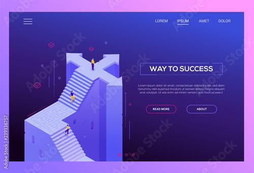 Photo  Way to success - modern isometric vector website header