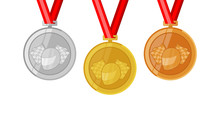 Racing Helmet And Flag Race Complete Shinny Medals Set Gold Siver And Bronze In Flat Style