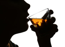 Silhouette Of Woman Drinking Whiskey On White Background. Concept Of Alcoholism