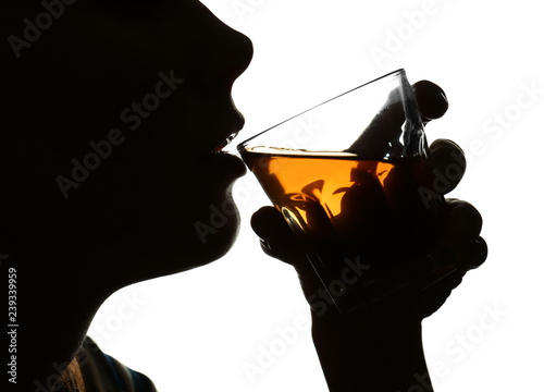 Silhouette of woman drinking whiskey on white background Wallpaper Mural
