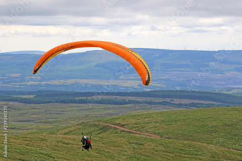 tandem paraglider in the Brecon Beacons