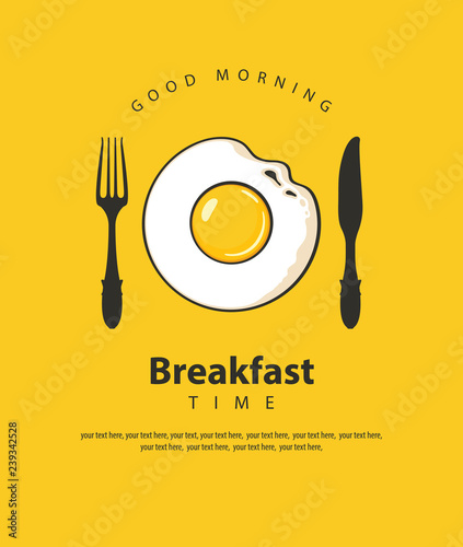 Vector banner on the theme of Breakfast time with fried egg, fork and knife on t Canvas-taulu