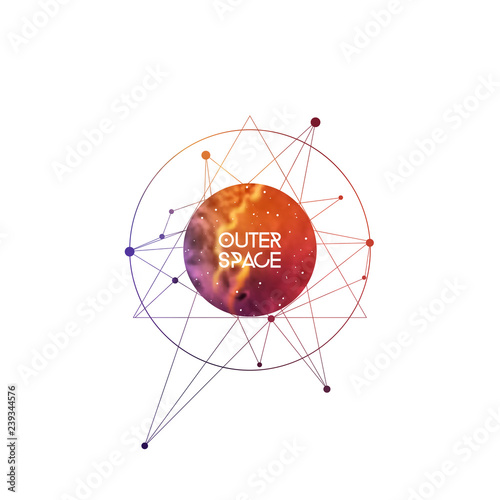 Outer space scientific template with label area  Hipster