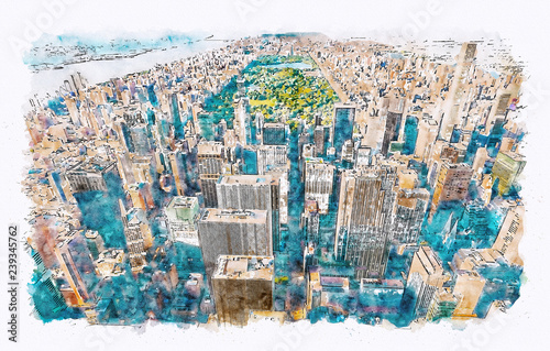 Aerial view of Midtown Manhattan, NY and Central Park watercolor painting Fototapete
