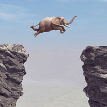A Elephant Jumping Over A Chasm.