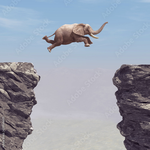 A elephant jumping over a chasm. Fotobehang
