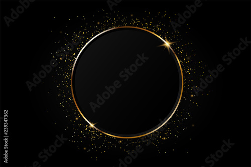 Stampa su Tela Golden circle abstract background.