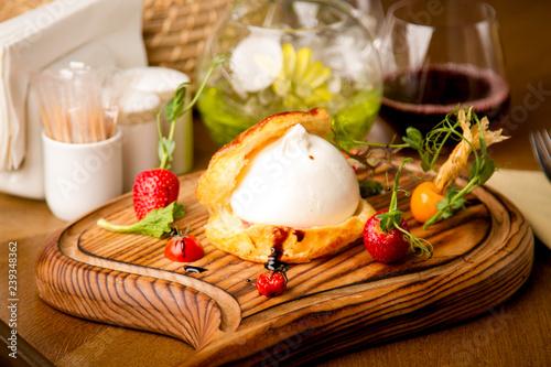 Poster Burrata strawberry a restaurant Cafe