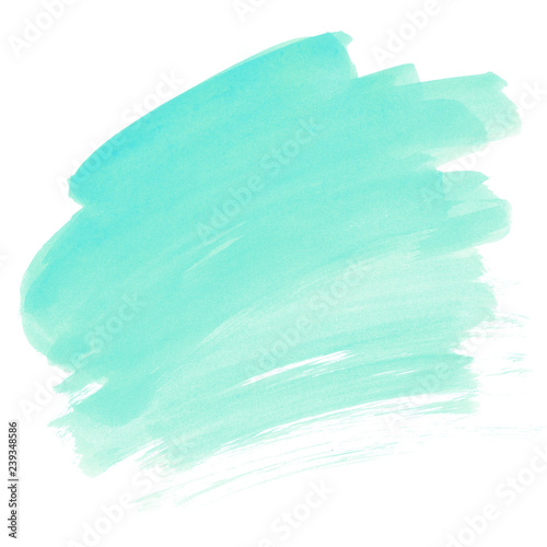 Turquoise watercolor stain Mint green Brush stroke paint texture Wall mural