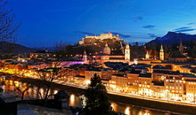 View From Kapuzinerberg Hill Towards Old Town, Salzburg, Austria